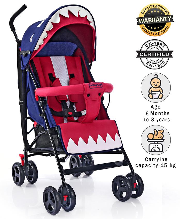 Babyhug Lil Monsta Stroller - Red & Blue