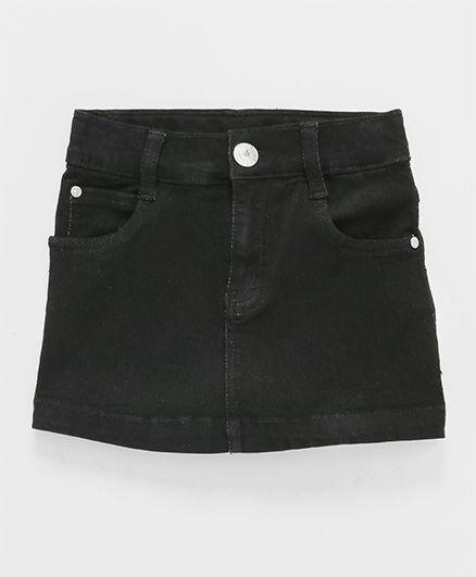 Babyhug Denim Skirt With Adjustable Elastic Waist - Black