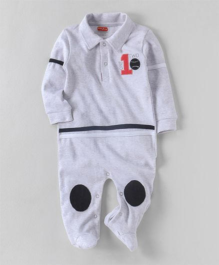 Babyhug Full Sleeves Collar Neck Sleepsuit - Grey