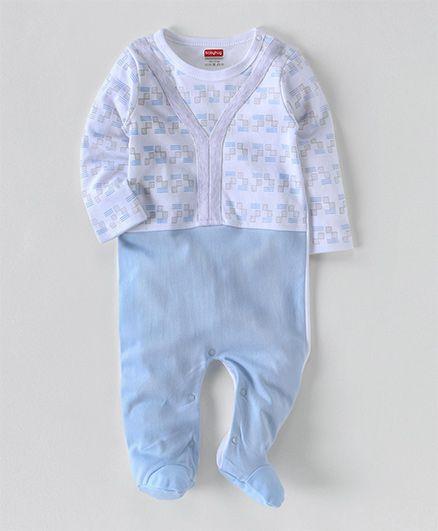 Babyhug Full Sleeves Printed Sleepsuit - Light Blue