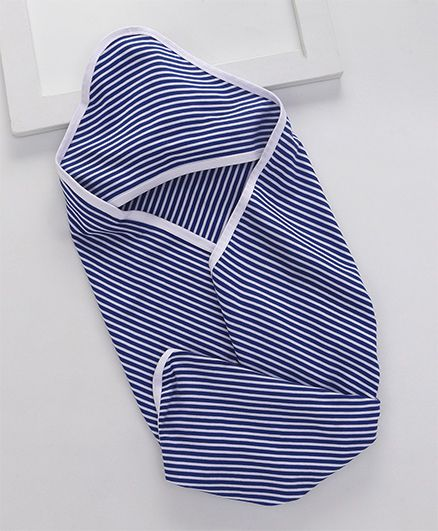 Royal Brats Striped Organic Cotton Wrap with Hood - Blue