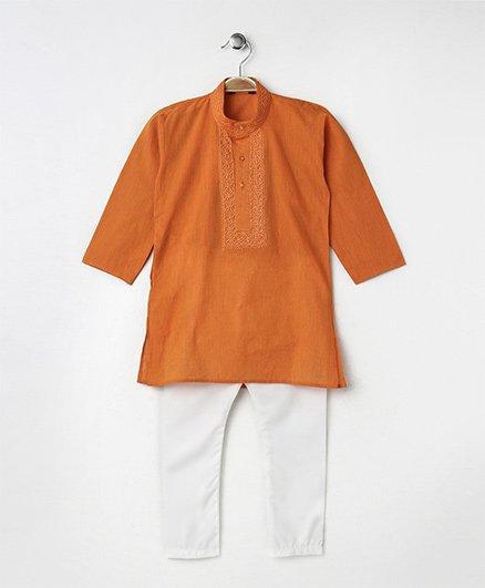 Babyhug Full Sleeves Kurta With Full Length Pyjama - Orange