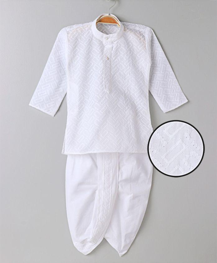 Babyhug Full Sleeve Kurta And Dhoti - White