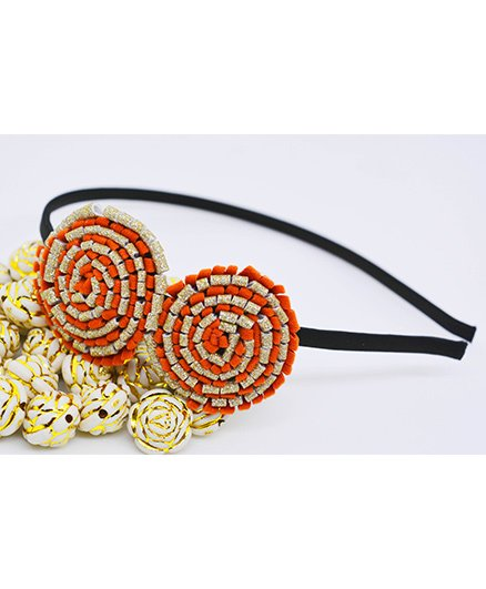 Little Tresses Partywear Double Puff Flower Hair Band - Orange