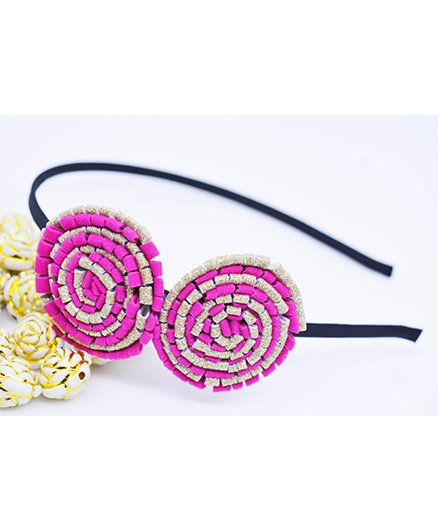 Little Tresses Partywear Double Puff Flower Hair Band - Purple
