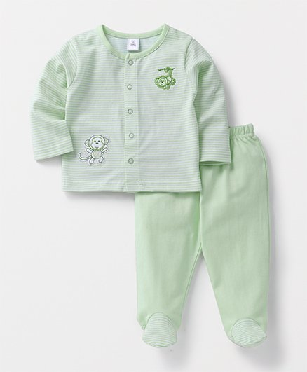 ToffyHouse Full Sleeves Night Suit Monkey Print - Green