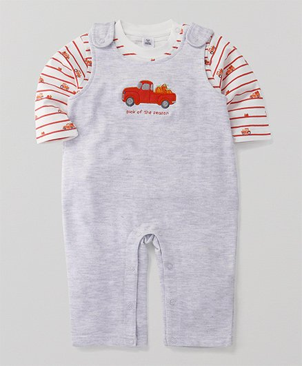 ToffyHouse Dungaree Romper With T-Shirt Truck Patch - Grey