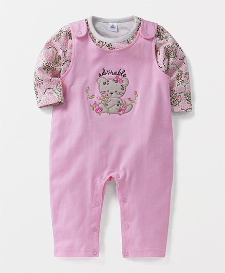 ToffyHouse Dungarees Romper With Tee Bear Embroidery - Light Pink