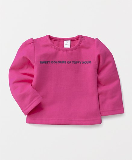 ToffyHouse Full Sleeves Tee Quote Print - Dark Pink
