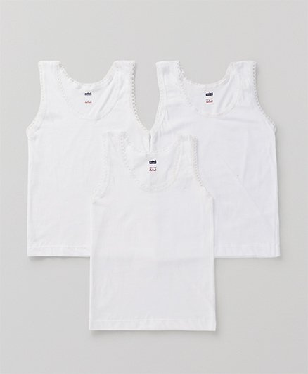 Simply Sleeveless Vest Set Of 3 - White