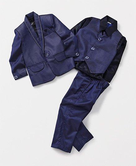 Rikidoos Full Sleeves Coat Suit Party Wear 4 Piece Set - Blue