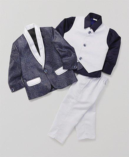 Rikidoos 4 Piece Full Sleeves Coat Suit - Blue
