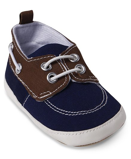Wonderchild Cute Booties With Lace - Navy & Brown
