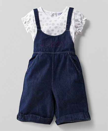 Wonderchild Jazzy Dungree With Tee - Navy & White