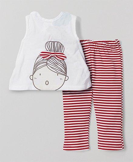 Wonderchild Doll Print Top & Bottom - White & Red
