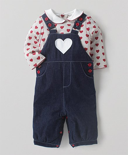 Wonderchild Dungree With Heart Print Tee - Navy