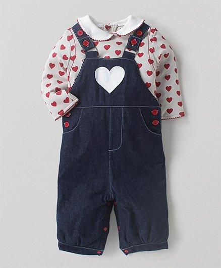 Wonderchild Dungree With Heart Print Tee - Navy