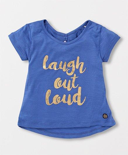 Vitamins Half Sleeves Top Laugh Out Loud Print - Blue
