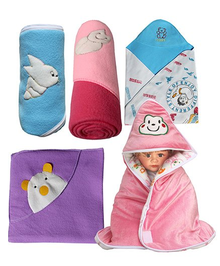 My NewBorn Baby Fleece Wrapper Cum Blanket Pack of 5 - Blue & Multi Colour