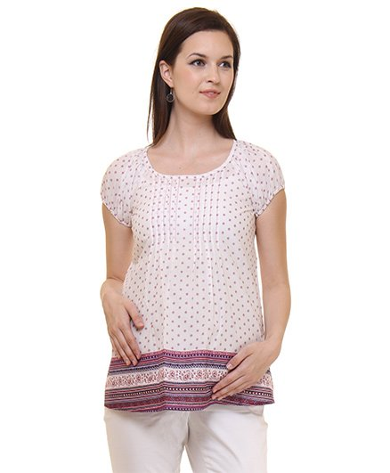 Preggear Short Sleeves Pleated Maternity Top With Contrast Lace Border - White
