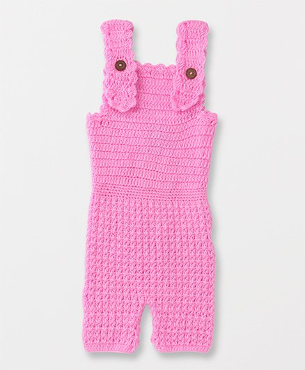 Rich Handknits Sleeveless Knitted Dungaree - Pink