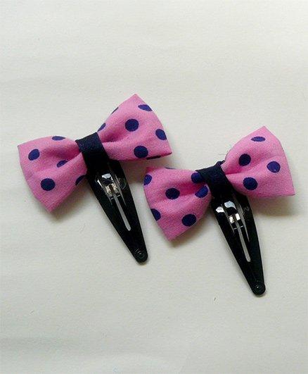 Pink Velvetz Polka Dot Bow Hair Clip - Navy Blue & Pink
