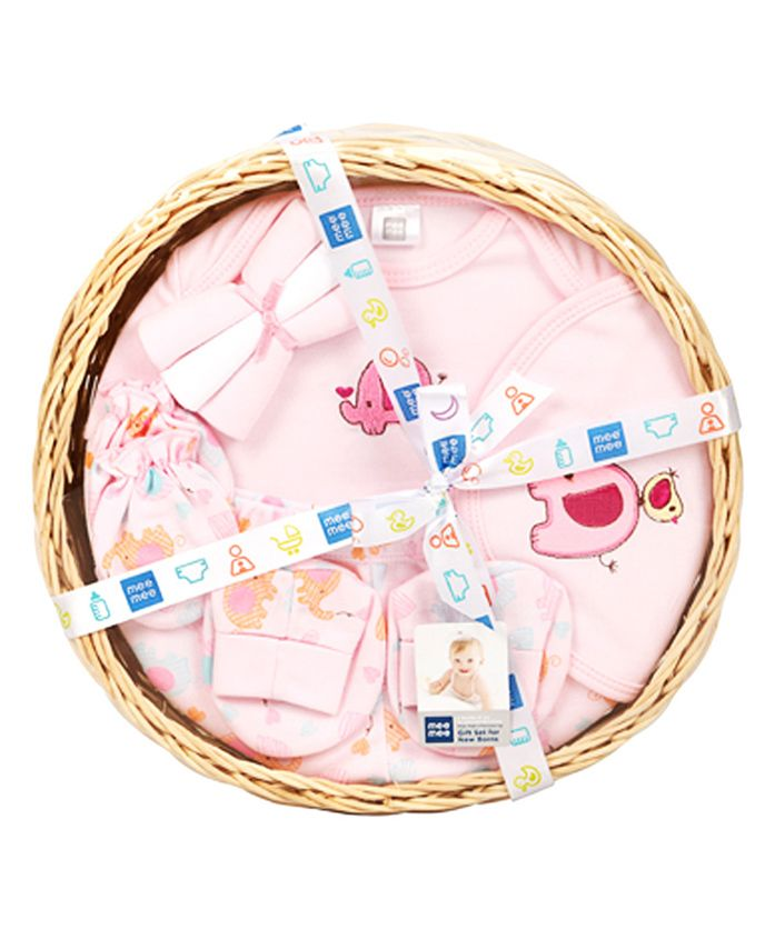 Mee Mee Clothing Gift Set Elephant Embroidery Pack Of 8 - Pink
