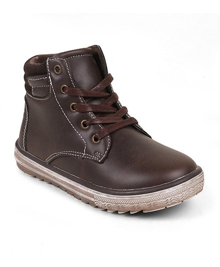 Kittens Shoes Lace Tie-Up Boots - Brown