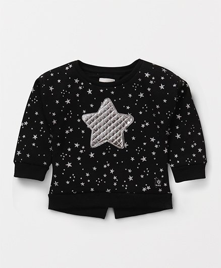Vitamins Full Sleeves Sweatshirt Star Design - Black