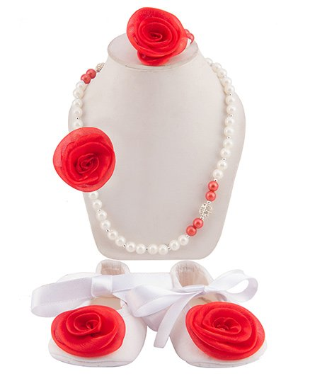 Daizy Set Of Ribbon Booties With Rose Flower Necklace & Bracelet - White