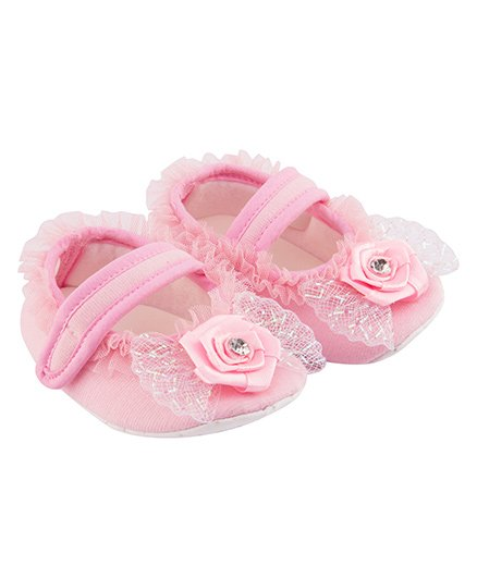 Daizy Frill Flower Applique Booties - Pink