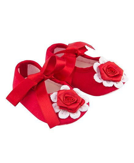 Daizy Ribbon Booties With Contrast Flower - Red