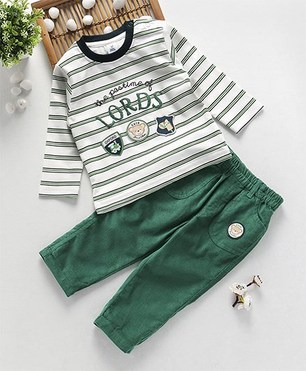 ToffyHouse Full Sleeves T-Shirt & Corduroy Pant Stripes Print - Green