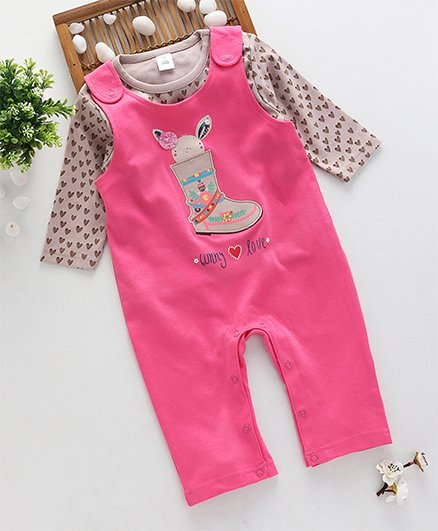 ToffyHouse Dungaree With Heart Print T-Shirt - Pink