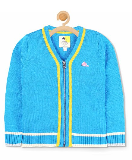 Cherry Crumble California Front Zip Cardigan - Blue & Yellow