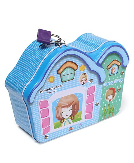 House Shaped Money Bank With Lock And Key - Blue