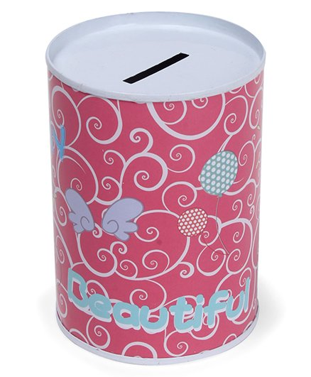 Cylindrical Money Bank Pink - Height 10 cm