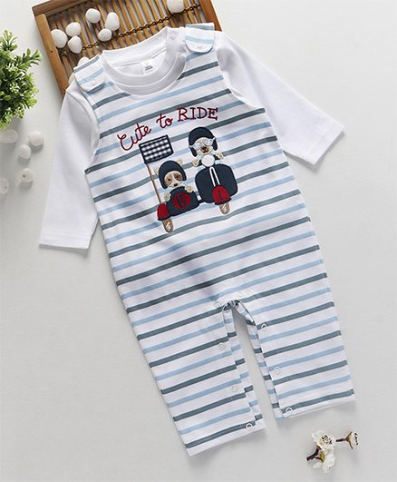 ToffyHouse Striped Dungaree With Full Sleeves T-Shirt - Off White