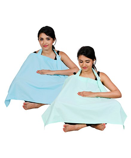 Lulamom Full Coverage Extra Wide Nursing Cover Pack Of 2 LM27013 - Blue & Sea Green