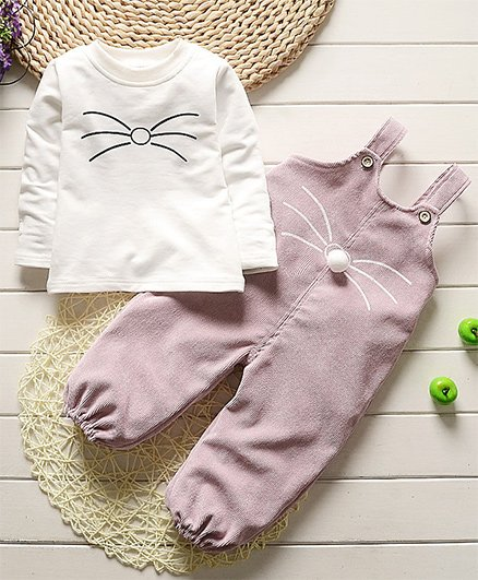 Pre Order - Awabox Cat Mustache Tee With Dungaree - Mauve