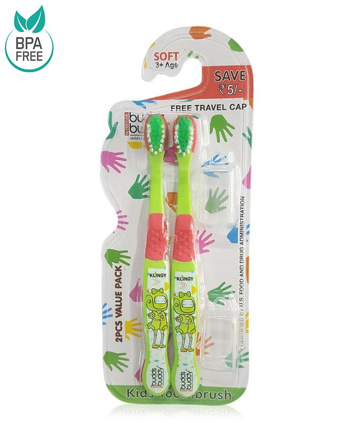 Buddsbuddy Klingy Design Tooth Brush Pack of 2 - Green