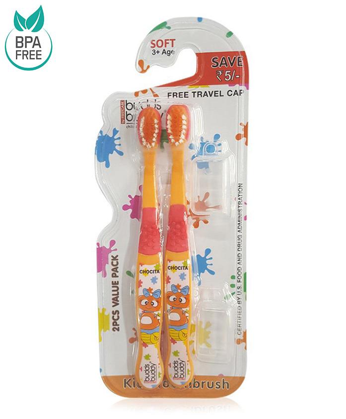Buddsbuddy Chocita Design Tooth Brush Pack of 2 - Orange