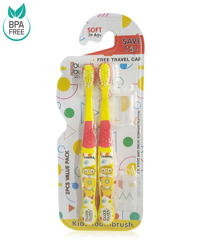 Buddsbuddy Famma Design Tooth Brush Pack of 2 - Yellow