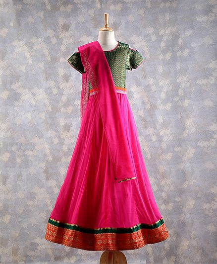 Twisha Traditional Cold Shoulder Brocade Choli With Lehnaga - Green & Pink
