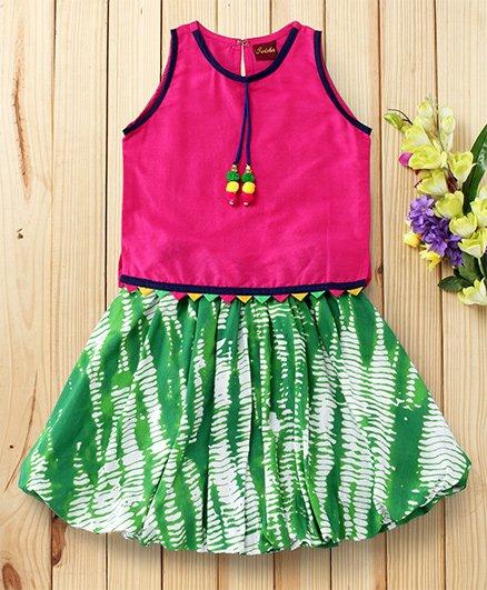 Twisha Cotton Top With Shibori Balloon Skirt - Fuschia & Green