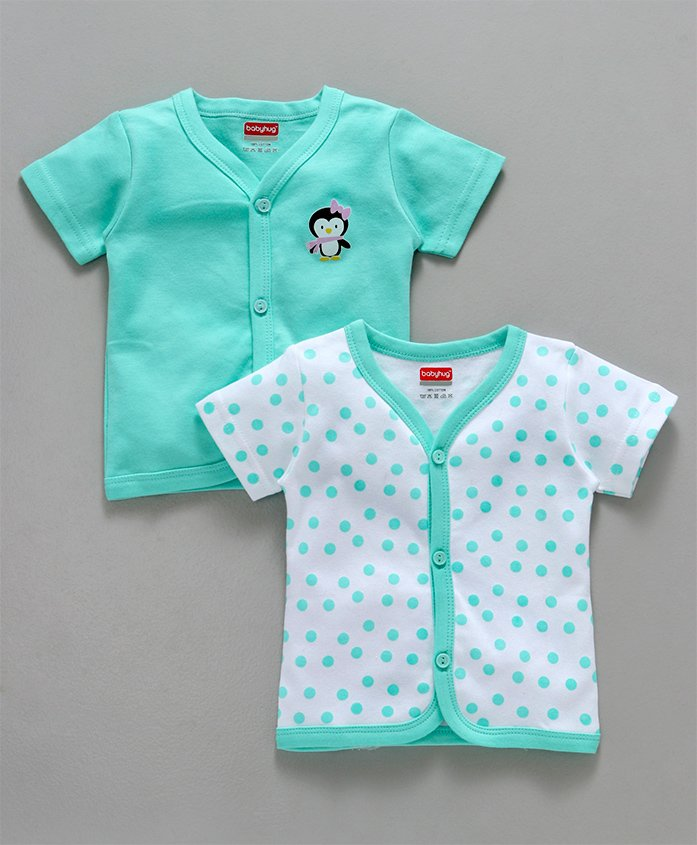 Babyhug Half Sleeves Cotton Vest Penguin Print Pack of 2 - Sea Green White