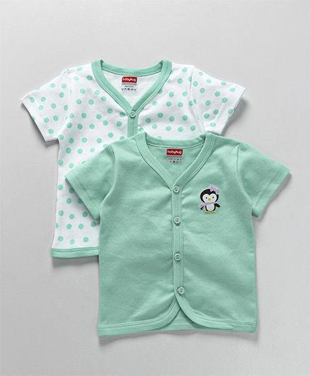 Babyhug Half Sleeves Cotton Vest Penguin Print Pack of 2 - Sea Green White