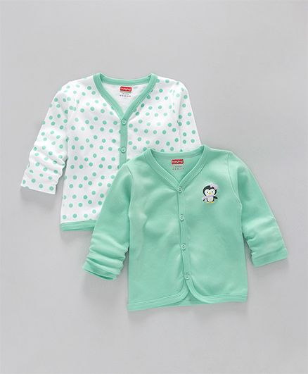 Babyhug Full Sleeves Cotton Vests Penguin Print Pack of 2 - Sea Green & White