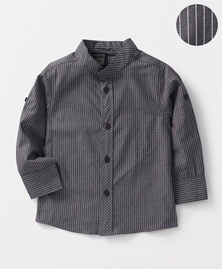 Rikidoos Striped Chinese Collar Shirt - Grey