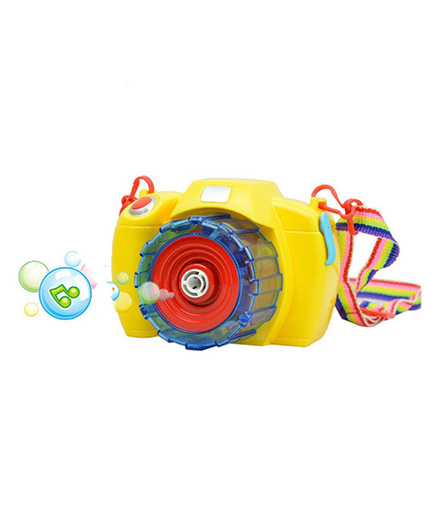 Emob Battery Operated Musical Camera Machine With Bubbles Solution Toy - Yellow